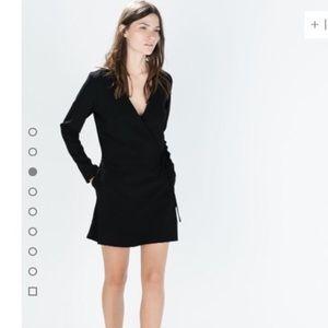 Zara Black Wrap Style Long Sleeve Romper